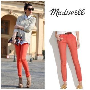 Madewell Skinny Ankle coral jeans